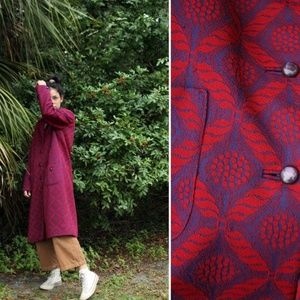 70's Red & Blue Patterned Button Up Duster Jacket